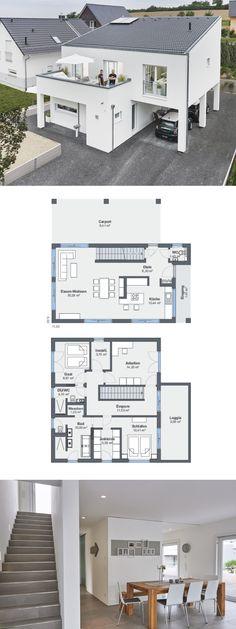 Modernes Haus-Design mit Pultdach - Einfamilienhaus bauen Grundriss Architektur WeberHaus Fertighaus - HausbauDirekt.de
