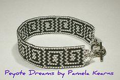 Greek key peyote bracelet (Peyote Dreams) Tags: peyotestitch beadingpattern peyotestitchpattern