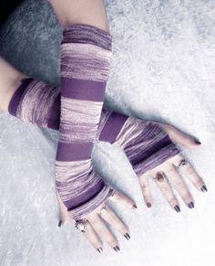 Purple Haze Arm Warmers  Violet Heather Pale Dove by ZenAndCoffee, $32.00