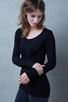 Basic black Longsleeve by Hati Hati Longsleeve, Models, Slow Fashion, Scoop Neck, Shirts, Turtle Neck, Sweaters, Black, Long Sleeve