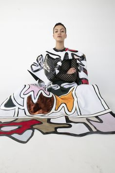 Central Saint Martins MA Fashion graduate Beth Postle talks about staying true to her passion in handcrafted textile, and steadily developing a business. Fashion Prints, Fashion Art, Fashion Show, Fashion Outfits, Fashion Design, Weird Fashion, Colorful Fashion, Deconstruction Fashion, Student Fashion