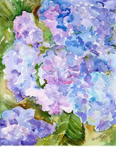 Original  Blue and purple  Hydrangeas by SharonFosterArt on Etsy, $30.00