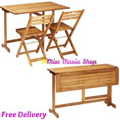Folding Table 2 Chairs Wooden Garden Patio Rectangular Out Balcony Furniture Set