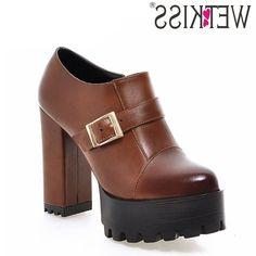 33.65$  Buy now - https://alitems.com/g/1e8d114494b01f4c715516525dc3e8/?i=5&ulp=https%3A%2F%2Fwww.aliexpress.com%2Fitem%2FFashion-2016-Thick-High-Heels-Buckle-Strap-Women-Pumps-Round-Toe-Patch-Color-Platform-Shoes-Woman%2F32601909163.html - Fashion 2016 Thick High Heels Buckle Strap Women Pumps Round Toe Patch Color Platform Shoes Woman Size 32-43 Spring Women Shoes