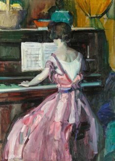 """""""Woman at the Piano,"""" Jane Peterson, oil on canvas, 30 x 24"""", private collection."""