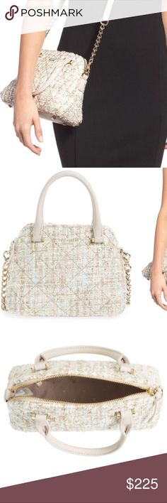 Kate Spade 'emerson place - small maise' satchel A pale tweed shot through with shimmering threads and touched up with sequins brings a fresh look to a compact satchel furnished with slender top handles and an optional chain-and-leather shoulder strap. Signature kate spade touches, 14-karat gold-plated hardware and dot-jacquard lining, polish the style Top zip closure Top carry handles; optional, adjustable shoulder strap Interior zip and wall pockets Protective metal feet Signature…