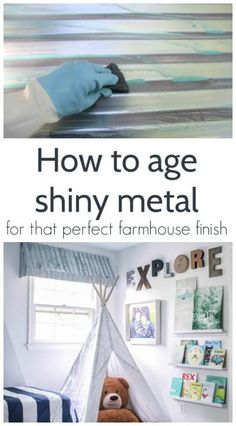 How to age shiny galvanized metal for that perfect farmhouse finish, easy tutorial #lovelyetc #farmhouse #galvanized