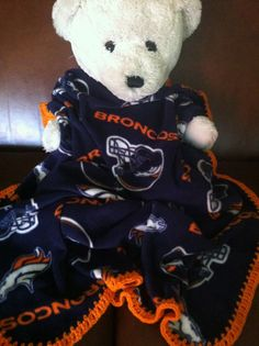"""Denver Broncos Football Fleece Sports Baby Blanket by CozyKrafts, $19.95 So many teams to choose from for the little """"Fan"""" in your life!"""