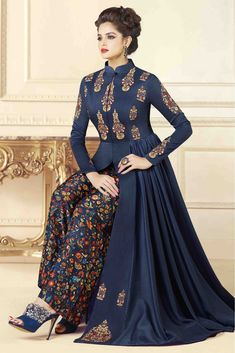 6c99f631f8 Cotton Art Silk Gown In Dark Blue Colour