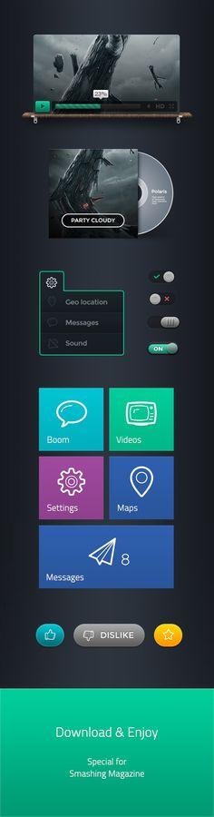 Polaris UI Kit + Linecons Icon Set (AI, PDF, PNG, PSD, SVG)