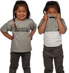 Funny Quote T-shirt: Ask me About My Mustache | Nieuw Kinderkleding Merk: Shirt | Verkrijgbaar bij www.kienk.nl
