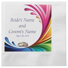 Elegant Swirling Rainbow Splash Napkin - 1 Rainbow Splash & Wedding Rings Matching Wedding Set #lgbtq #gaymarriage #gaywedding