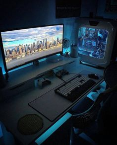 Awesome Video Game Room Ideas for Small Rooms Video game room ideas for game lovers, diy funny setup gaming desk boys organization Gaming Desk Setup, Computer Gaming Room, Best Gaming Setup, Gamer Setup, Cool Gaming Setups, Best Pc Setup, Gaming Pcs, Gamer Room, Pc Gamer
