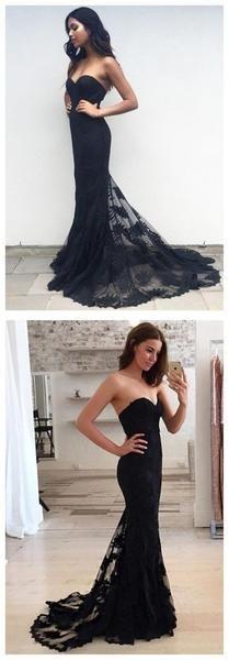 Black Prom Dress,Lace Prom Dress,Strapless Prom Dress,Long Prom Dress,MA056