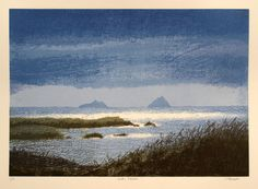 Aidan Flanagan Art:  Skellig Islands This screenprint of the Kerry landscape was printed in Aug 2013 and consists of 8 layers, and is printed in a Limited Edition of 7 prints. The print depicts the world famous Skellig Islands which lie off the South West coast of Ireland.