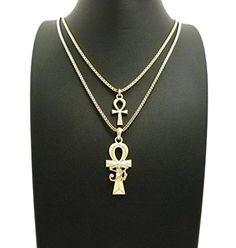 Ankh Pendentif Croix Avec Chaîne 2 Collier Set Nouveau Hip Hop Micro Pave Eye of Horus