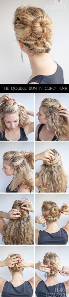 The double bun is a great style for all hair types. In fine hair, it gives the illusion of volume. Conversely in thick hair, it balances out the weight of your hair. - The Double Bun Hair Tutorial in curly hair   hairromance