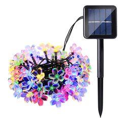 4 pcs/set ledertek Solar Fairy String Lights 21ft 50 LED 8 Modes Peach Blossom Decorative Gardens, Lawn, Patio, Christmas Trees #Affiliate