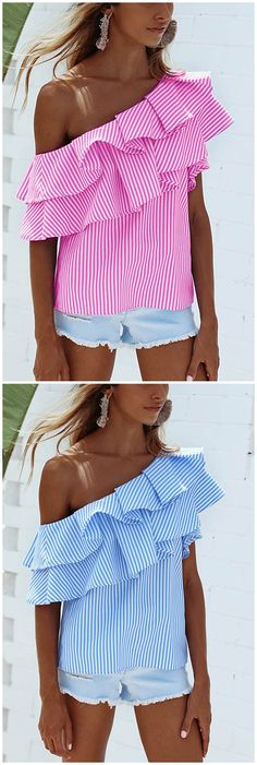 Pink Sexy Stripe Pattern One Shoulder Flouncy Details Top