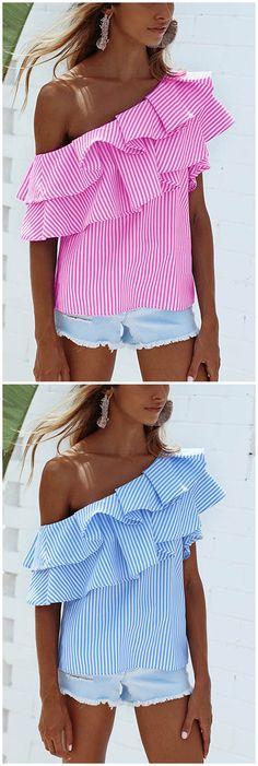 Pink Sexy Stripe Pattern One Shoulder Flouncy Details Top