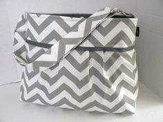 The Monterey Diaper Bag Medium  In Grey Chevron  by BagEnvy, $75.00