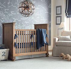 Vintage Ticking Stripe & European Vintage-Washed Percale Nursery Bedding Collection, RH baby