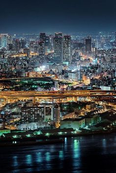 The beautiful skyline and bright city lights of Osaka, Japan. Osaka Japan, Japon Tokyo, Places Around The World, Around The Worlds, Places To Travel, Places To Visit, Monte Fuji, Belle Villa, Nightlife Travel