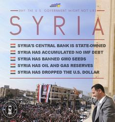 Syria is not the problem, this is the same shit they pulled following 9/11 in the middle East. Syria has no Rothschild banks they are a major target right now