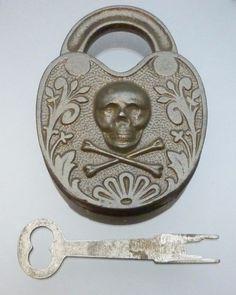 Vintage or Antique Cast Iron Skull & Crossbones Story Lock Padlock with Push Key