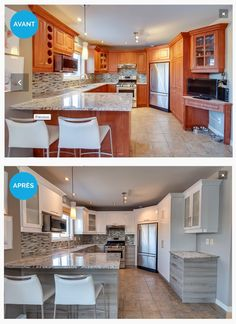 Cooking before and after the passage of the Eco Cuisine Design team: a magnificent transformation, ecological and economical! Home Staging, Home Renovation, Home Remodeling, Before After Home, Kitchen Decor, Kitchen Design, Home Upgrades, Interior Design Living Room, Home Kitchens