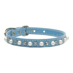 Mirage Pet Products Patent 3/8-Inch Pearl and Crystal Pet Collar, Size 10, Baby Blue ** Check out the image by visiting the link.