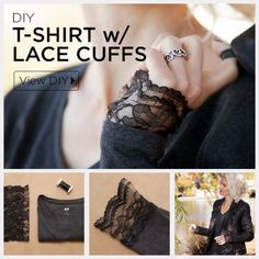 DIY Crafts You Can Make with Lace | Cool DIY Ideas for Fashion, Decor, Gifts, Jewelry and Home Accessories Made With Lace | DIY T-Shirt with Lace Cuffs | http://diyjoy.com/diy-crafts-ideas-with-lace