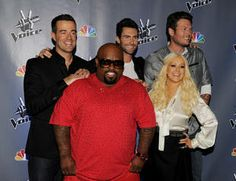 The Voices Judge Adam Levin   The Voice Host Carson Daly and Judges Cee Lo Green, Adam Levine ...