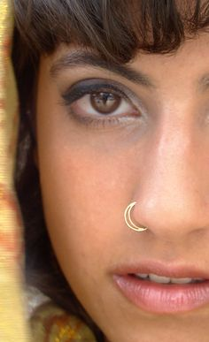 Half moon Nose Ring Gold nose ring gold by ShirazelohevJewelry Diamond Hoop Nose Rings, Gold Nose Hoop, Gold Nose Rings, Silver Nose Ring, Nose Piercing Fake, Piercing Nasal, Piercing Septum, Septum Ring, Unique Nose Rings