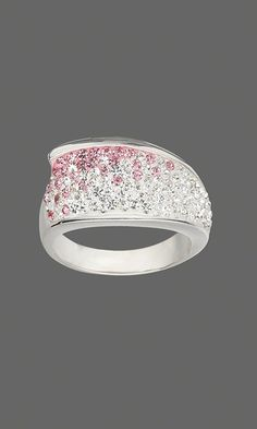 Ring with Pink and Clear Swarovski Crystal Xilion Chatons and Apoxie®