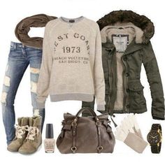 #73 ~ ripped jeans, khaki sweater, & accessories