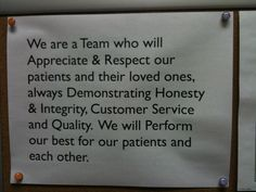This is our mission statement. It represents what we strive for every day. It was developed as a team as we discussed what our practice would be about. It is posted in our breakroom for us to read every day. We thought our patients might be interested. #dentistry