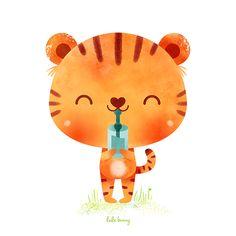 Luli Bunny illustration drink tiger ilustracion