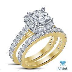 14k Yellow Gold Finish 925 Silver Round D/VVS1 Diamond Bridal Ring Set Size 5-12 #affoin8