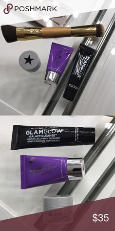 Tarte slenderizer contouring brush + glamglow trio Tarte slenderizer contouring brush + glamglow trio deluxe sample sizes - brush used one and cleaned with beauty blender cleanser, glamglow trio new, never used. Sephora Makeup