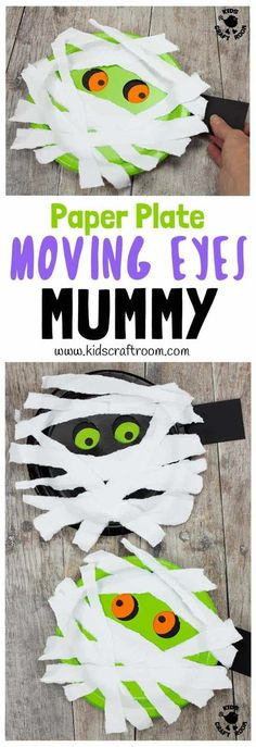 MOVING EYES PAPER PLATE MUMMY CRAFT Halloween crafts are great but interactive Halloween craft ideas are even better! Kids can move this mummy's eyes from side to side! Have you seen mummy craft ideas as spooky and fun as this? This simple paper plate craft is easy enough to make with toddlers and their creepy eyes will make them just as fun for big kids too. #kidscraftroom #Halloween #Halloweencrafts #mummycrafts #mummycraft #halloweenmummy #paperplatecrafts #kidscrafts Halloween Paper Plate Crafts For Kids, Mummy Crafts, Ghost Crafts, Easy Halloween Crafts, Halloween With Toddlers, Halloween Crafts For Kindergarten, Halloween Activities For Kids, Preschool Crafts, Fall Crafts