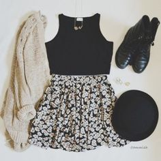 Skirt: girly, sweater, knit, floral, black, sun flowers, combat, boots, hipster, look, outfit, idea, cute, vinatge, tank top, hat, floral skirt - Wheretoget
