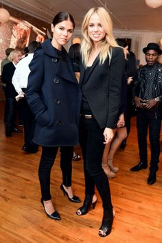 navy peacoat + elin kling in all black