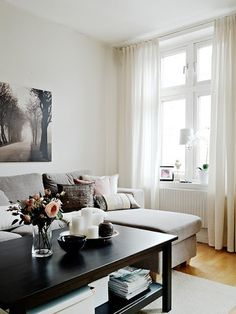 A warm interior design with ikea furniture Ikea Living Room, Cozy Living Rooms, Home And Living, Ikea Bedroom, Bedroom Curtains, Small Living, Modern Living, Interior Design Living Room, Living Room Designs