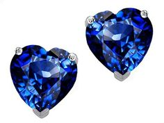 8.0mm Heart-Shaped Lab-Created Sapphire Stud Earrings in Sterling Silver
