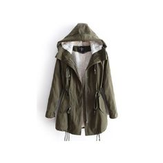 Green Hooded Long Sleeve Drawstring Pockets Fleece Coat (83 CAD) ❤ liked on Polyvore featuring outerwear, coats, jackets, sheinside, drawstring coat, parka coat, short sleeve coat, fleece parka and hooded coat
