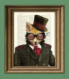 Steampunk Art Print Admiral Fox illustration by collageOrama, $6.99