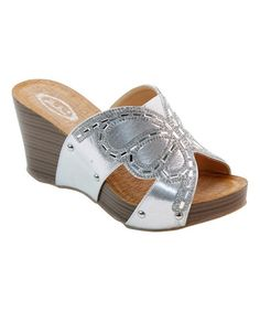 Another great find on #zulily! Silver & Tan Rhinestone Butterfly Wedge by Italina #zulilyfinds