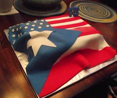 American/Puerto Rican flag cake Puerto Rico, Puerto Rican Flag, Flag Cake, Cupcake Wars, Cakes And More, No Bake Desserts, Cake Art, Themed Cakes, Cake Designs