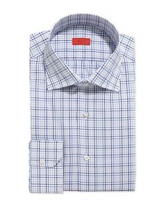 Woven Multi-Plaid Dress Shirt, Gray/Blue/Navy - Isaia